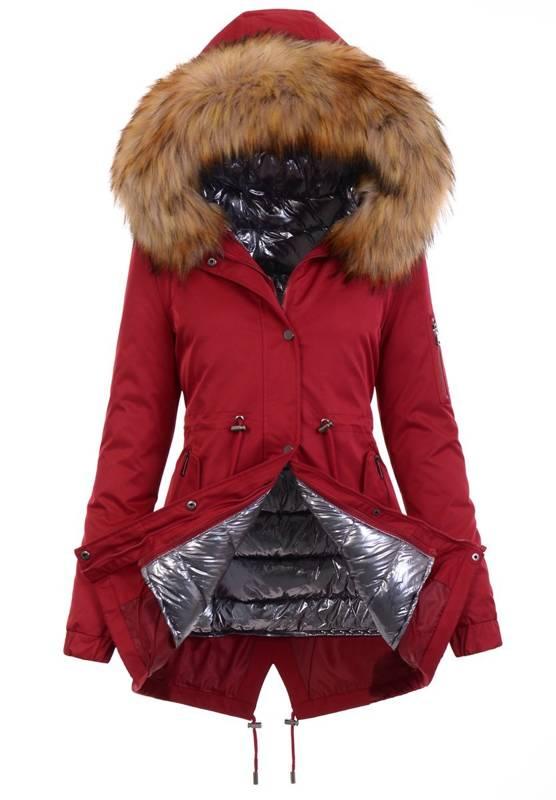 Zimowa Parka 3w1 Czerwona Z Brązowym Futerkiem B9558